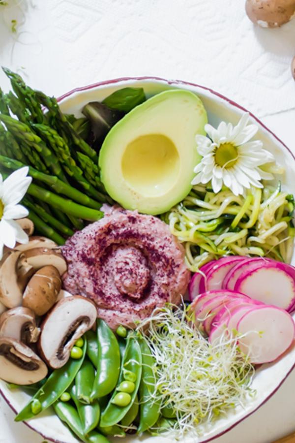 Beet Sumac Hummus Veggie Bowl