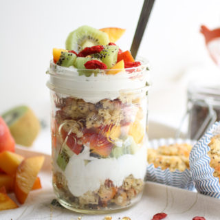 Lemon Chia Seed Muffin Parfait, A gluten free lemon muffin piled high with greek yogurt, fresh fruit, and superfoods! |AbrasKitchen.Com