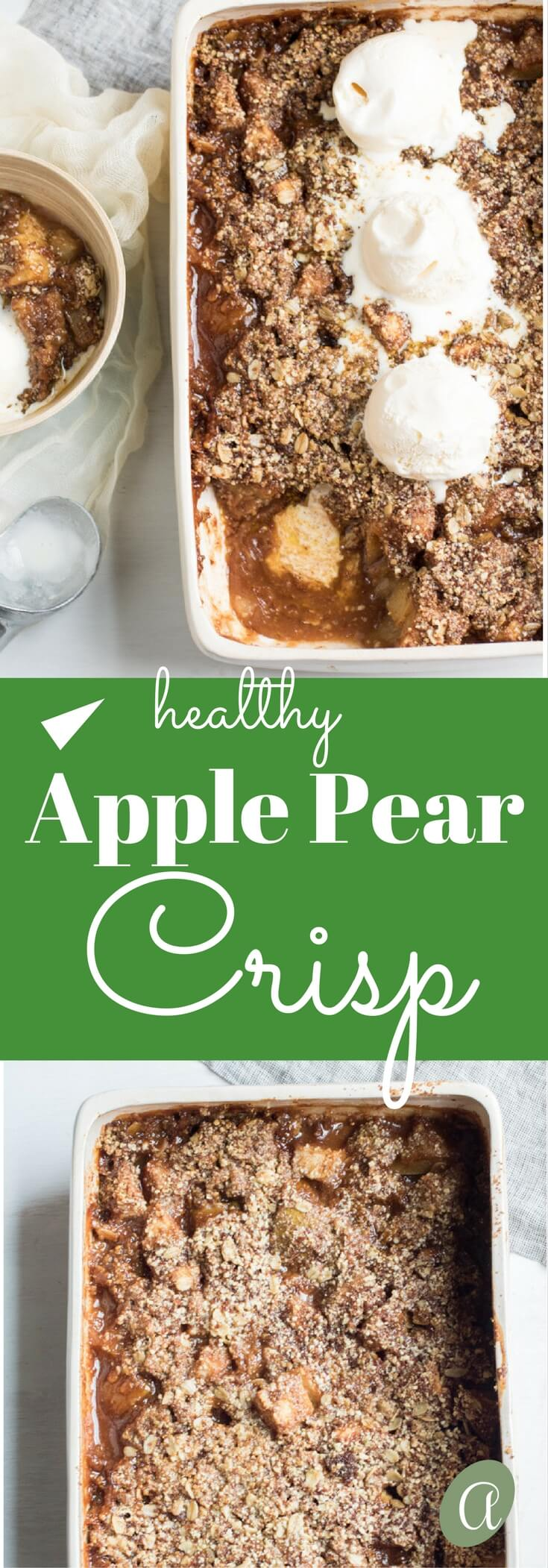 Ooey gooey sweet goodness, this apple pear crisp is insanely delicious and so easy to make! Gluten free. Topped with creamy vanilla ice cream that perfectly melts into the crisp almond, oat, and pumpkin seed topping.