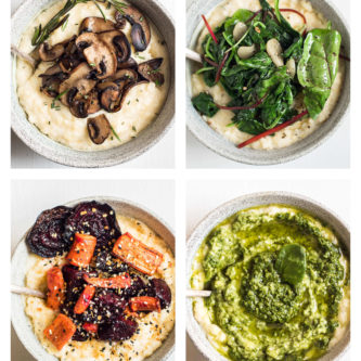 Four delicious and healthy plant-based vegetarian recipes for creamy polenta including rosemary sauteed mushroom polenta, garlicky green polenta, crispy roasted beets and carrots with everything spice polenta, and classic simple basil pesto polenta.