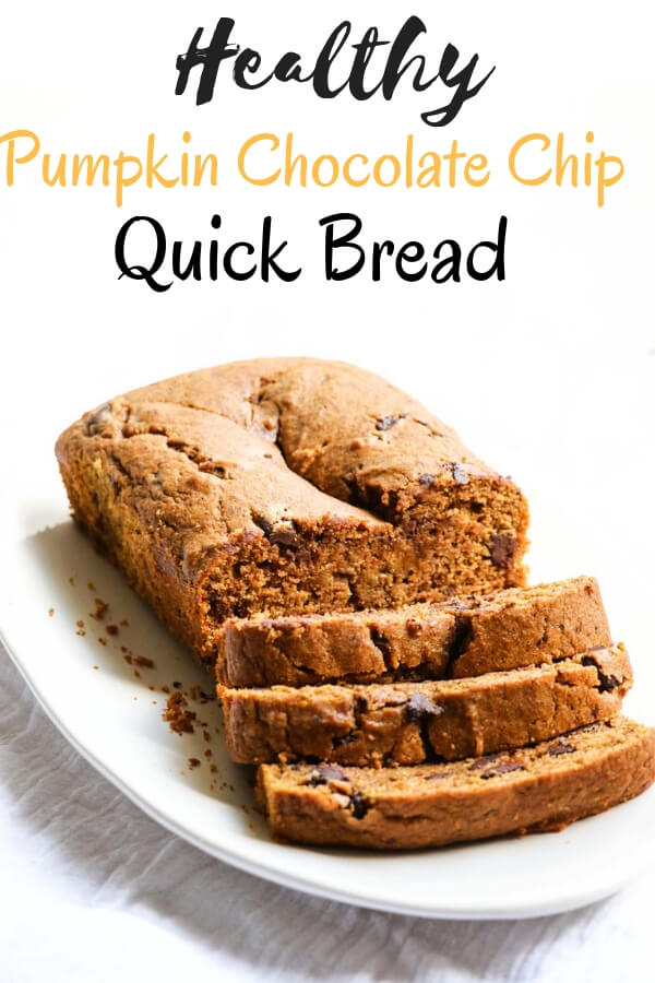 Healthy Pumpkin Chocolate Chip Bread is perfectly fall, perfectly delicious, and surprisingly healthy. Using healthy whole grain spelt flour, unprocessed sweetener (maple syrup) and lots of yummy chocolate.