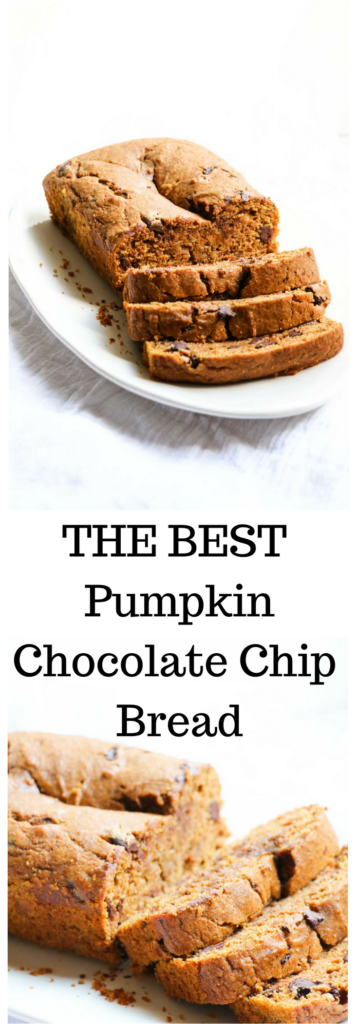 Healthy Pumpkin Chocolte Chip Bread is perfectly fall, perfectly delicious, and surprisingly healthy. Using healthy whole grain spelt flour, unprocessed sweetener (maple syrup) and lots of yummy chocolate.Real Food |Abraskitchen.com
